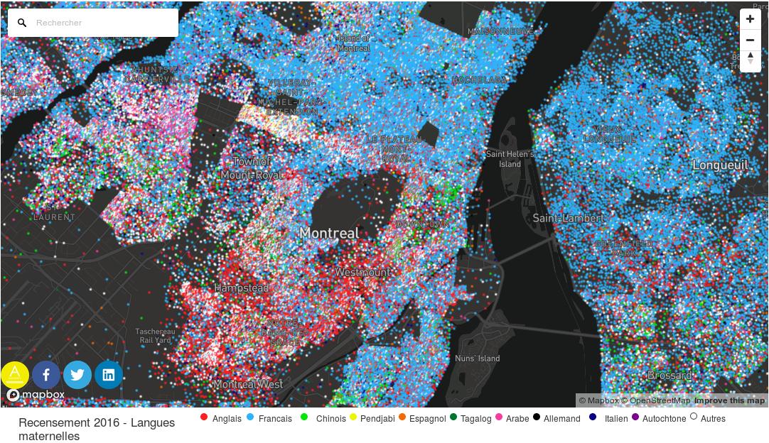 Distribución de lenguas maternas en  Montreal