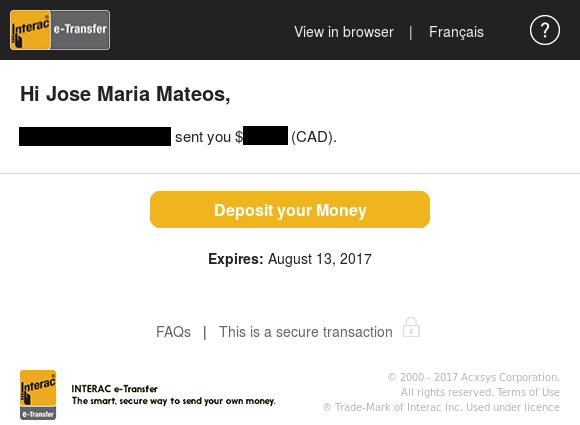 Mensaje de transferencia Interac  recibida